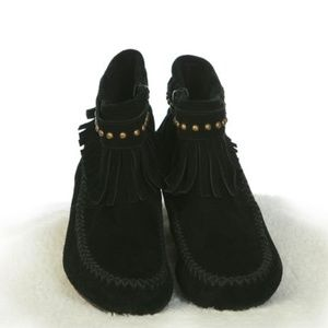Black Fringed Side Zip Ankle Boot Moccasin SZ 7.5